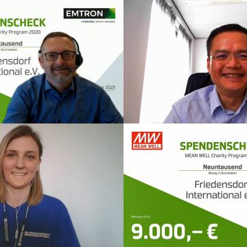 Emtron electronic GmbH und Mean Well Europe überreichen Spende fürs Friedensdorf